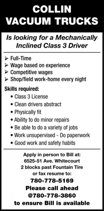 Drayton Valley Western Review   Classifieds   Employment