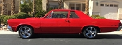 1965 pontiac gto cloned restomod new red paint w/ white int  400 cu , 4  speed, has new custom suspension, 17' wheels new chrome & wire harness  almost