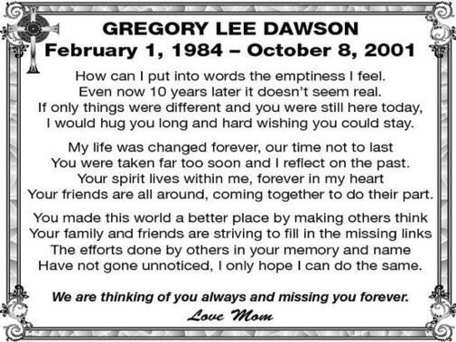 Gregory Lee Dawson  4 February 1