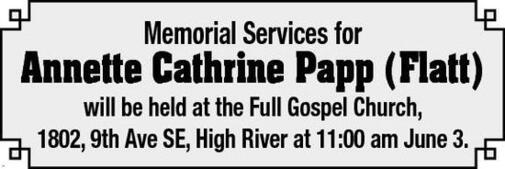 Annette Cathrine  Papp (Flatt)