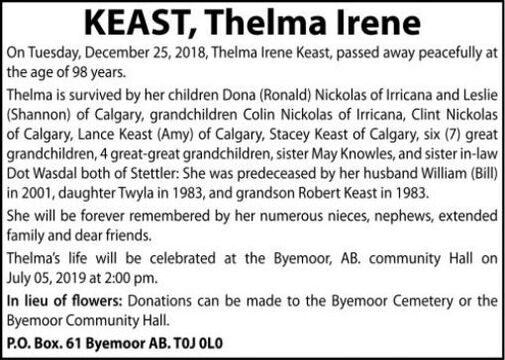 Thelma Irene  KEAST