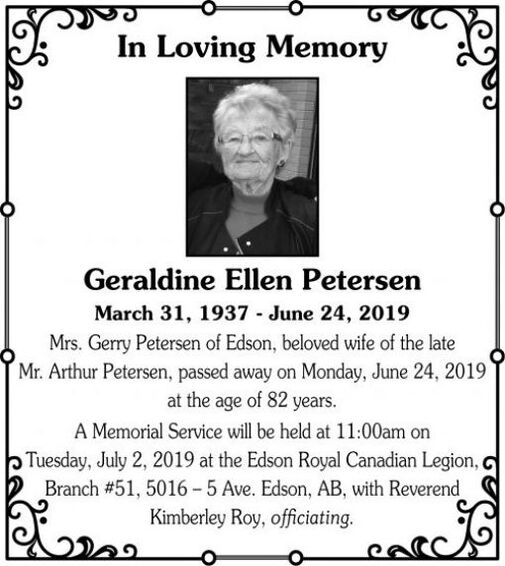 Geraldine Ellen  PETERSEN