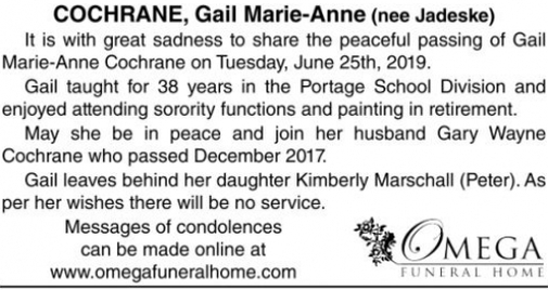 Gail Marie-Anne (nee Jadeske)  COCHRANE