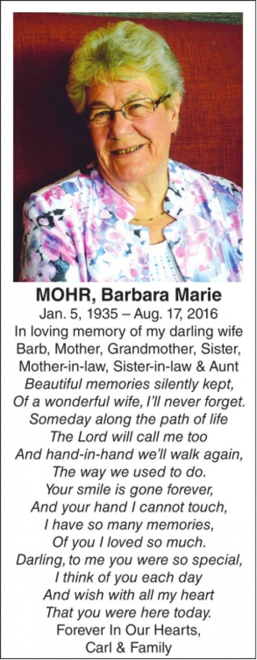 Barbara Marie  MOHR