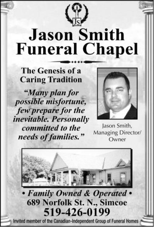 Jason Smith Funeral Chapel | Obituary | Simcoe Reformer