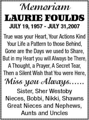 Memoriam Laurie Foulds July 19