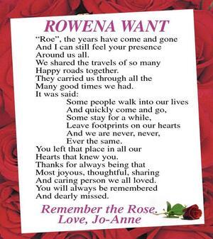 Rowena Roe  Want