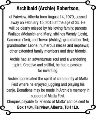 Archibald Robertson | Obituary | Fairview Post