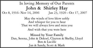 John and Shirley  Hay