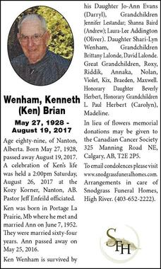 Kenneth (Ken) Brian  Wenham