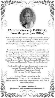 Joan Margaret (nee Miller)  PACKER (formerly DARKER)