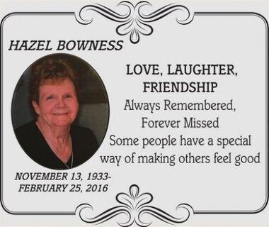 Hazel  BOWNESS