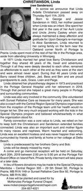 Linda (nee Sanderson) CHRISTIANSON | Obituary | The Graphic