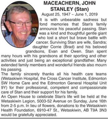 John Stanley (Stan)  MACEACHERN