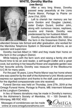 Dorothy Martha (nee Berry)  WHITE