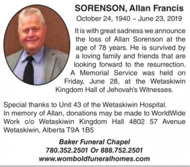 Allan Francis  SORENSON
