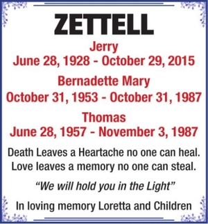 Jerry  Bernadette Mary  Thomas  ZETTELL