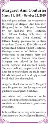 Margaret Ann  COUTURIER