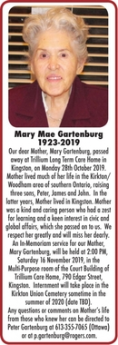 Mary Mae  GARTENBURG