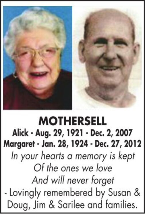 Alick  Margaret  MOTHERSELL
