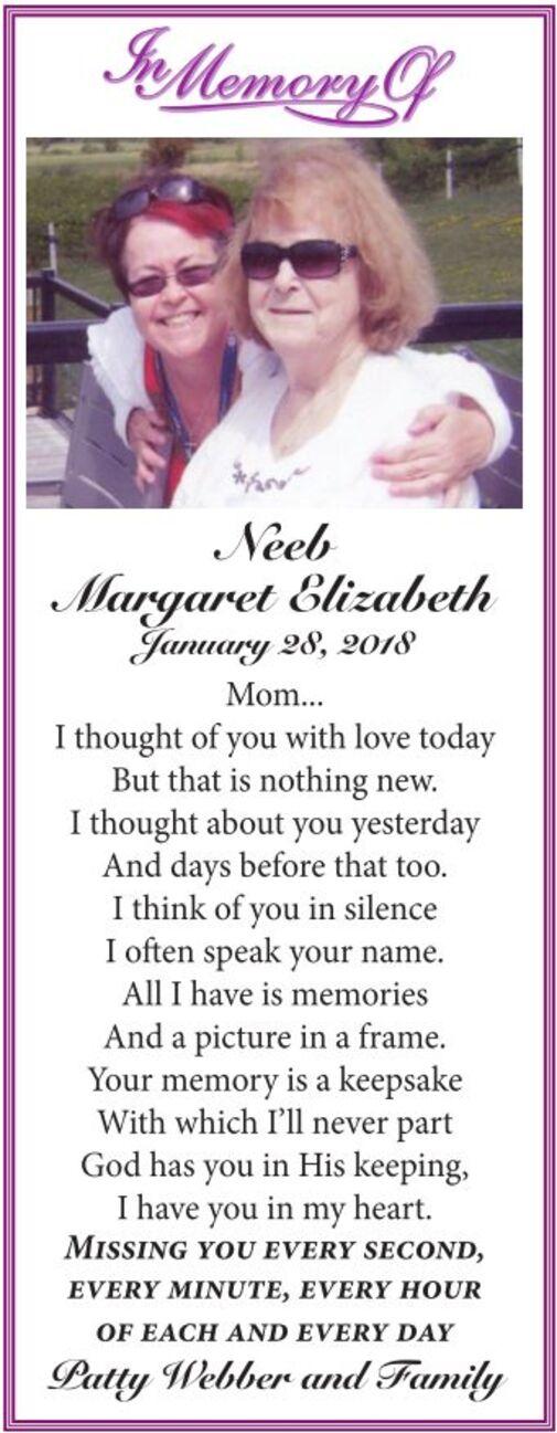 Margaret Elizabeth  NEEB
